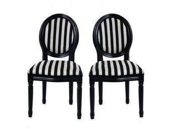 Miliboo - lot de 2 chaises baroques medaillon - Medaillon Stuhl