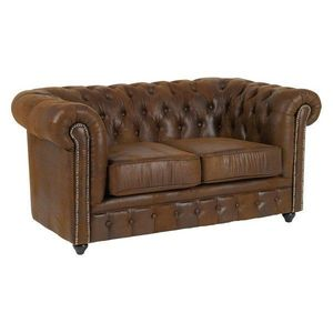 DECO PRIVE - canape chesterfield 2 places en microfibre marron - Chesterfield Sofa