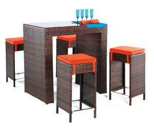 HEVEA - ensemble bar de jardin delphin marron et orange - Gartentheke