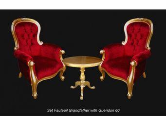 DECO PRIVE - ensemble fauteuils baroques dore et velours rouge - Sessel
