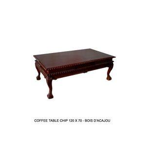 DECO PRIVE - table basse de style en acajou chippendale - Rechteckiger Couchtisch