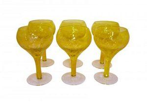 Demeure et Jardin - set de 6 verres a pied jaunes - Glas