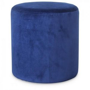 Demeure et Jardin - petit tabouret rond en velours bleu vif - Sitzkissen