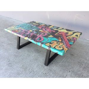 Mathi Design - table basse graffiti - Rechteckiger Couchtisch