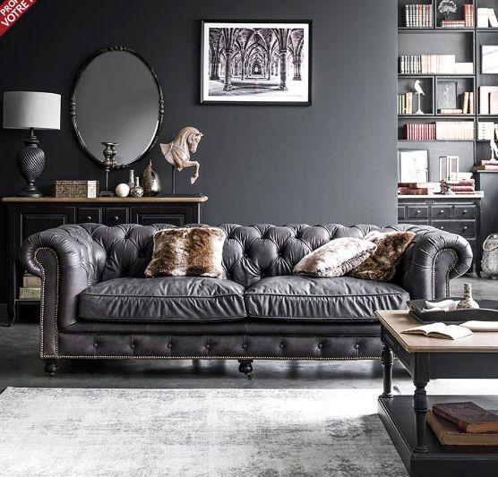 Coventry Chesterfield Sofa Grau Leder Interiors