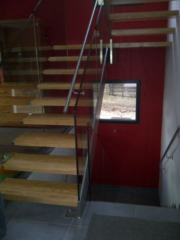 TRESCALINI - Zweiläufge Treppe-TRESCALINI-Skystep/Elite : escalier demi tour inox verre bois