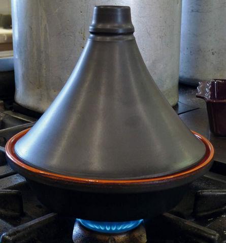 DM CREATION - Tajinetopf-DM CREATION-Tajine traditionnel noir mat en terre cuite 32cm