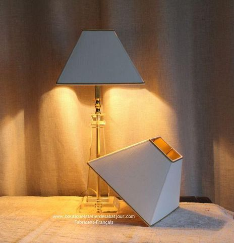 L'ATELIER DES ABAT-JOUR - Viereckiger Lampenschirm-L'ATELIER DES ABAT-JOUR-Blanc & Doré