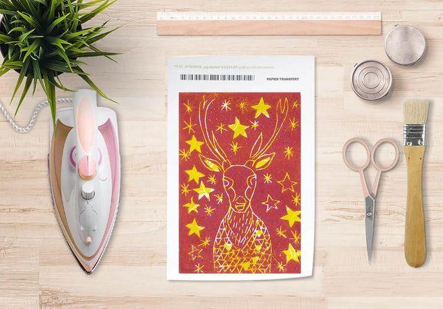 la Magie dans l'Image - Verlegung-la Magie dans l'Image-Papier transfert Cerf Etoilé Rouge