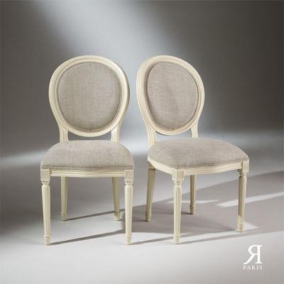 Robin des bois - Medaillon-Stuhl-Robin des bois-2 Chaises Médaillon blanches