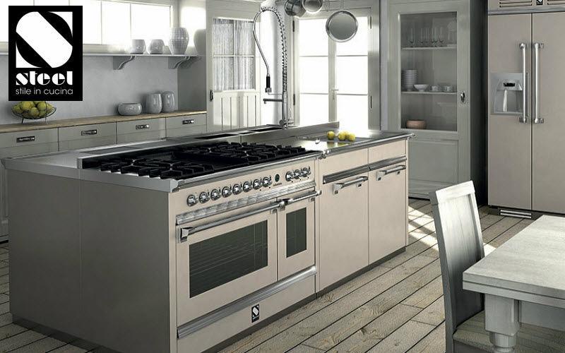 Steel Cucine Cocina con doble horno Placas y hornillos Equipo de la cocina  |
