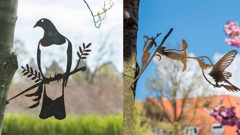Metalbird Silueta de pájaro Ornamentos de exterior Jardín Diverso  |