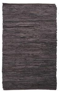 Aubry-Gaspard - tapis en cuir et coton chocolat - Alfombra Contemporánea