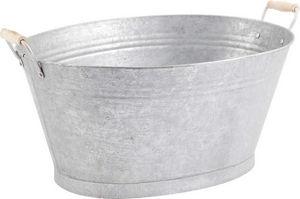 Aubry-Gaspard - jardinière bassine en zinc givré et bois 48x37x28c - Barreño