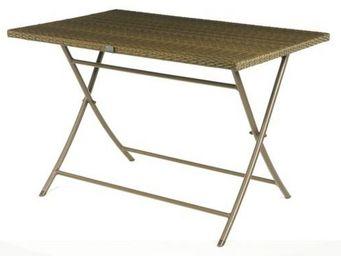 PROLOISIRS - table pliante cacao en résine tressée métis 110x45 - Mesa De Jardín