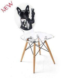 ACRILA - chaise graph piètement bois - Silla