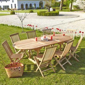 BOIS DESSUS BOIS DESSOUS - salon de jardin en bois de teck midland 8/10 place - Comedor De Exterior