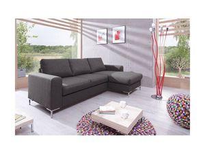 BOBOCHIC - canapé d'angle fixe lilly gris foncé angle droit - Sofá De Esquina