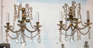 ABC PASCAL - paire d appliques cristal et bronze - Lámpara De Pared