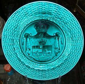 Antiquité Bosetti - assiette faïence de rubelles (armoiries) - Plato Decorativo