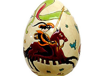 EMAUX DE LONGWY - oeuf taille 3 (il palio) - Huevo Decorativo