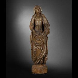 Expertissim - sculpture de sainte en chêne, xvie siècle - Escultura