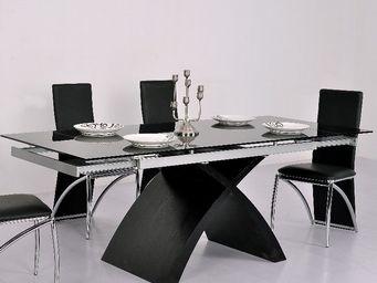 CLEAR SEAT - table en verre noire à rallonge extensible xures - Mesa Extensible