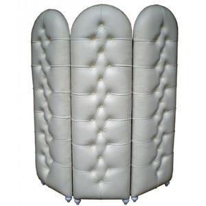 DECO PRIVE - paravent 3 volets capitonne aspect cuir blanc deco - Biombo