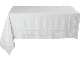Athezza Home - nappe riga blanche 150x150cm - Mantel Rectangular