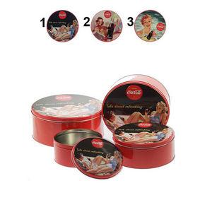 WHITE LABEL - lot de 4 boîtes à cookies coca-cola pinup 2 - Cajas De Galletas