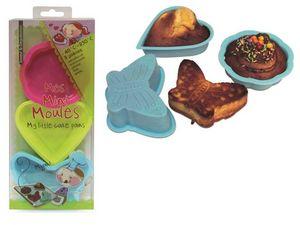 WHITE LABEL - 3 minis moules à gâteaux cour papillon et coquilla - Molde Para Pasteles