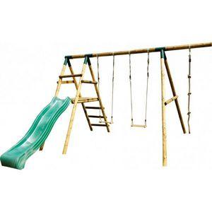 JARDIPOLYS - portique en bois avec 2 balançoires,corde et tobo - Pórtico
