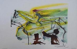 ARMAND ISRAËL - le cheval de course de salvador dali lit - Litografía