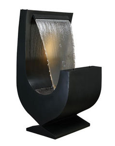Cactose - fontaine niagara noire en aluminium avec jardinièr - Fuente Exterior