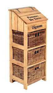 Aubry-Gaspard - meuble à légumes en pin et rotin 35x31x90cm - Mueble De Cocina