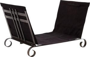 Aubry-Gaspard - porte-bûches en métal et jute noir 24x13x14cm - Portador De Troncos