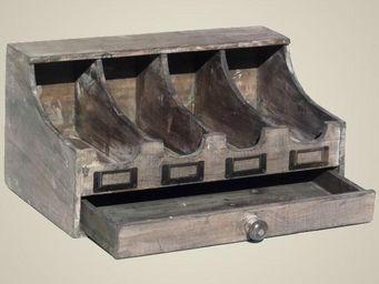 L'HERITIER DU TEMPS - range couverts en bois 4 bacs - Guardacubiertos