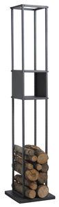 Aubry-Gaspard - range-bûches vertical en métal gris - Portador De Troncos