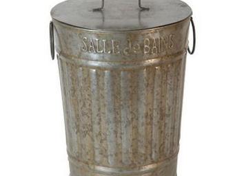 Antic Line Creations - corbeille de douche en zinc 20x26cm - Papelera De Cuarto De Baño
