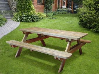 CEMONJARDIN - table de pique-nique bois 4/6 places rambouillet - Mesa De Picnic