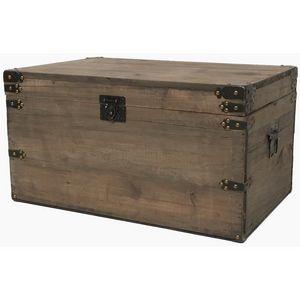 CHEMIN DE CAMPAGNE - grand coffre de style ancien vieille malle en bois - Baúl