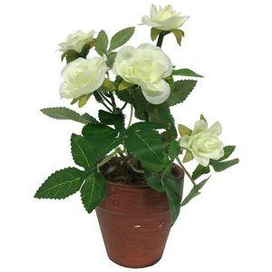 CHEMIN DE CAMPAGNE - rosier artificiel blanc 17 cm - Flor Artificial