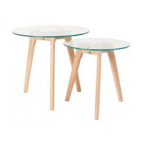 Mathi Design - set de 2 tables bois et verre - Mesa Auxiliar