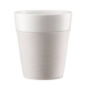 BODUM - set de 2 mugs en porcelaine avec bande silicone 30cl blanc crème - bistro - bodum - Otro Vajillas