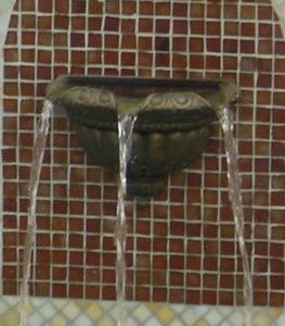 Fountains Unique - triple scupper bronze half bowl - b202 - Chorro De Agua De Piscina