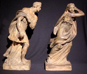 Philippe Vichot - paire de sculptures en terre cuite figur - Escultura