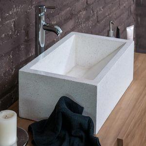 BOIS DESSUS BOIS DESSOUS - vasque en marbre blanc - Lavabo De Apoyo
