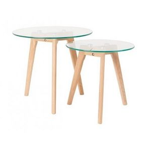 Mathi Design - set de 2 tables bois et verre - Mesa Auxiliar