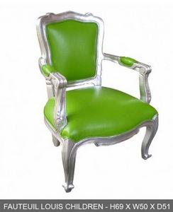 DECO PRIVE - fauteuil enfant bois argente et simili vert - Butaca Para Niño