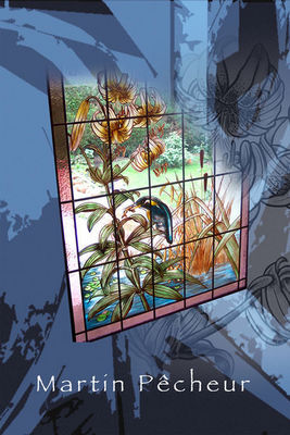 Atelier 1..2..3 vitrail - Vidriera-Atelier 1..2..3 vitrail-Martin Pêcheur et Lys